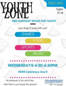 Youth Zone Poster - YZ meets every Wed 4:30-6:30pm at The Storefront 4040 Lawrence E. thru Aug 29, 2018