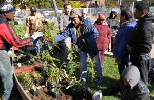 community members gathered around the newly installed canoe garden, learning about native plants that attract pollinators