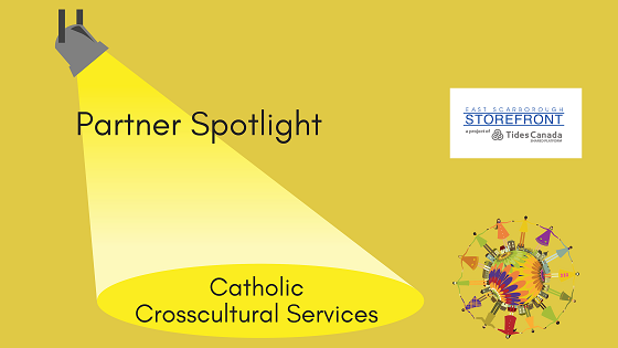 Graphic of a spotlight, featuring Storefront partner Catholic Crosscultural Services