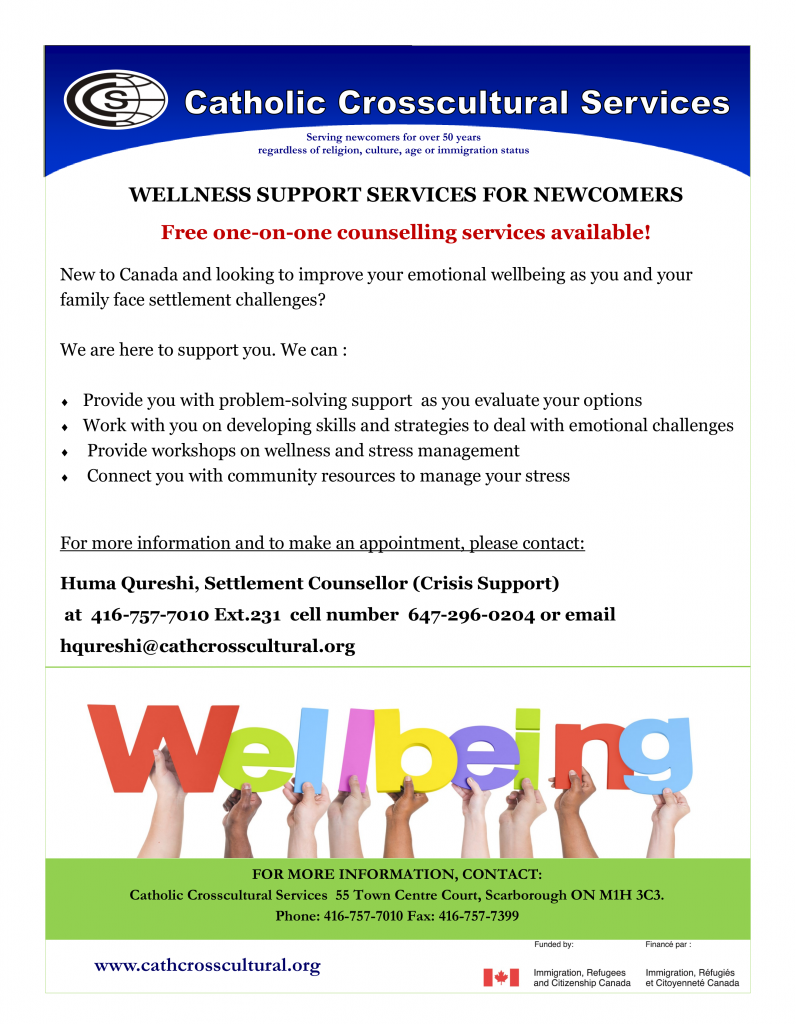 Image of flyer detailing CCS Wellbeing supports