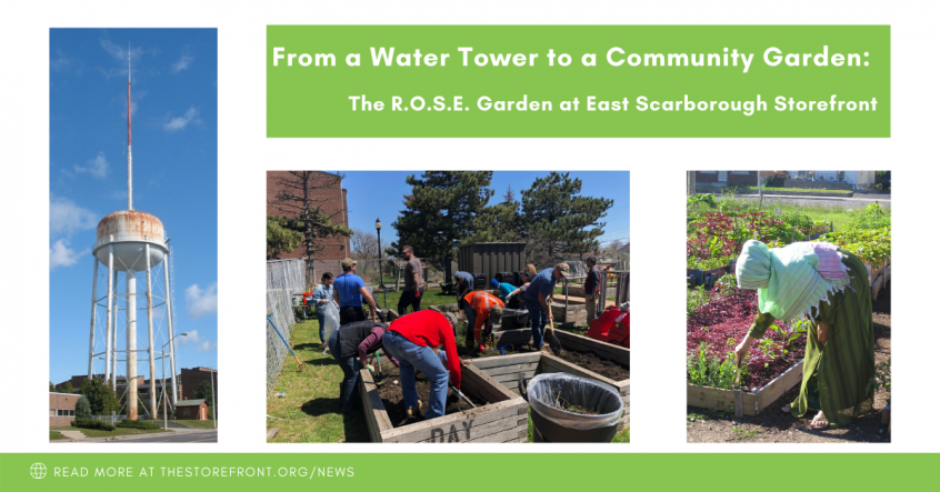 An old, rusty water tower that used to occupy the site of the Roots of Scarborough East Community Garden at East Scarborough Storefront. Images of the garden and people gardening